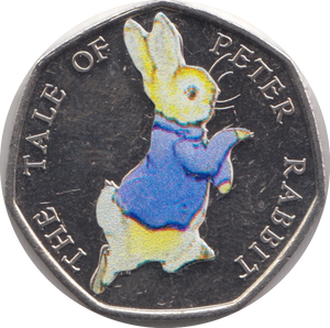 2017 THE TALE OF PETER RABBIT COLOURED CIRCULATED BEATRIX COIN