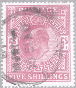 5 SHILLINGS RED STAMP VICTORIAN EDWARD VII SG 264 REF 13