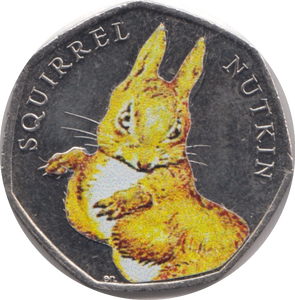 2016 SQUIRREL NUTKIN COLOURED CIRCULATED BEATRIX COIN