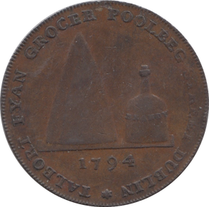 1794 HALFPENNY TOKEN CORK FYAN GROCER JUSTICE STANDS DUBLIN DH308A ( 184 )