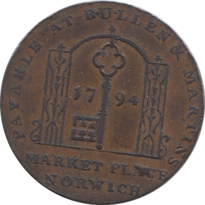 1794 HALFPENNY TOKEN NORFOLK PLOUGH AND SHUTTLE KEY AND ARCH DH19 ( REF 103 )