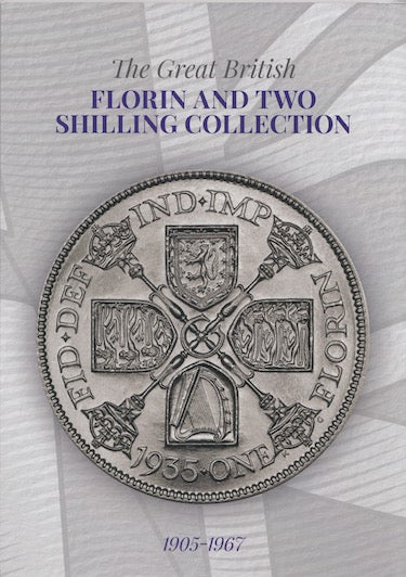 1905 - 1967 Great British Florin Two Shilling Coin Hunt Collectors Album