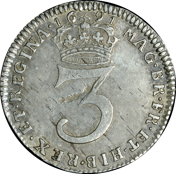 1691 MAUNDY THREEPENCE ( VF ) SECOND BUST