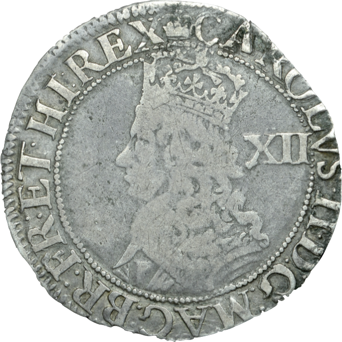 1660 - 85 SILVER SHILLING THIRD ISSUE CROWN CHARLES II REF 107