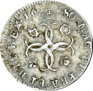 1680 MAUNDY FOURPENCE ( VF )