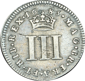 1685 MAUNDY THREEPENCE ( VF ) JAMES II