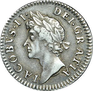1687 / 6 MAUNDY FOURPENCE ( VF ) JAMES II