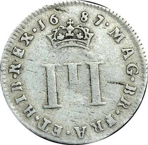 1687 MAUNDY THREEPENCE ( F ) JAMES II