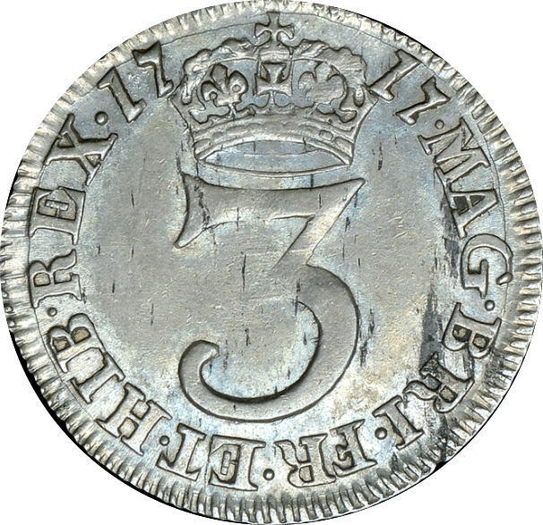 1717 MAUNDY THREEPENCE ( GVF )