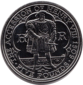 2009 BRILLIANT UNCIRCULATED THE ACCESSION OF HENRY VIII 1509 £5 COIN BU