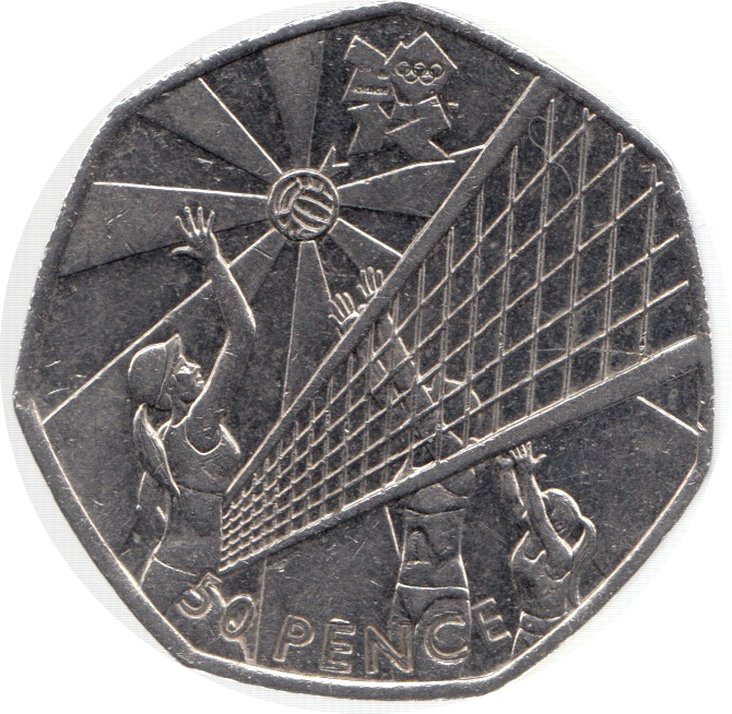 2011 CIRCULATED LONDON OLYMPIC 2012 50p VOLLEYBALL