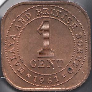 1961 ONE CENT BRITISH MALAYA AND BORNEO ( UNC ) REF H68