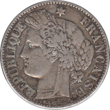 1881 SILVER 2 FRANCS MINT MARK A FRANCE REF H70