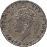 1943 BASE SILVER 50 CENTS BRITISH EAST AFRICA REF H107