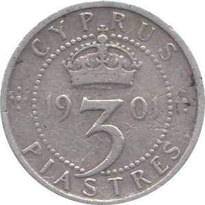 1901 SILVER 3 PIASTRES CYPRUS REF H135