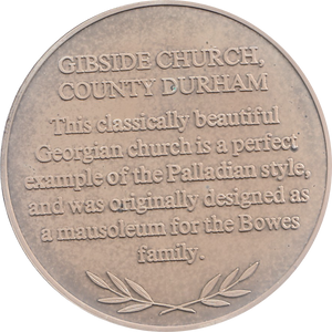 SILVER PROOF MEDALLION GIBSIDE CHURCH COUNTY DURHAM REF 3 FAMOUS CHURCH'S AND CATHEDRALS