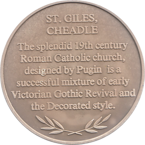SILVER PROOF MEDALLION ST GILES CHEADLE CHURCH REF 4 FAMOUS CHURCH'S AND CATHEDRALS