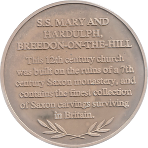 SILVER PROOF MEDALLION SS MARY AND HARDULPH BREEDON ON THE HILL CHURCH REF 5 FAMOUS CHURCH'S AND CATHEDRALS
