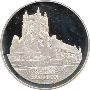SILVER PROOF MEDALLION ST HILDAS CHURCH HARTLEPOOL COUNTY DURHAM REF 7 FAMOUS CHURCH'S AND CATHEDRALS