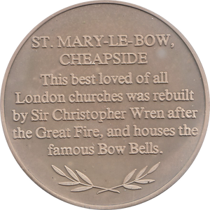 SILVER PROOF MEDALLION ST MARY-LE-BOW CHURCH CHEAPSIDE REF 8 FAMOUS CHURCH'S AND CATHEDRALS