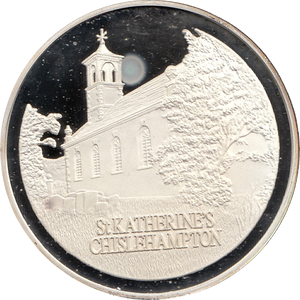 SILVER PROOF MEDALLION ST KATHERINES COIN OXFORDSHIRE REF 10 FAMOUS CHURCH'S AND CATHEDRALS