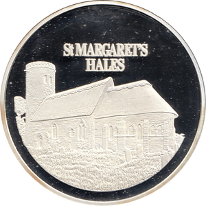 SILVER PROOF MEDALLION ST MARGARETS HALES CHURCH NORFOLK REF 13 FAMOUS CHURCH'S AND CATHEDRALS