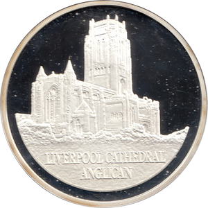 SILVER PROOF MEDALLION LIVERPOOL ANGLICAN CATHEDRAL REF 14 FAMOUS CHURCH'S AND CATHEDRALS