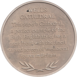 SILVER PROOF MEDALLION WELLS CATHEDRAL REF 15 FAMOUS CHURCH'S AND CATHEDRALS