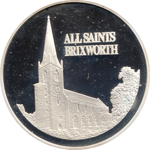SILVER PROOF MEDALLION ALL SAINTS CHURCH BRIXWORTH REF 16 FAMOUS CHURCH'S AND CATHEDRALS