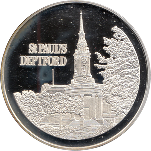 SILVER PROOF MEDALLION ST PAULS CHURCH DEPTFORD REF 18 FAMOUS CHURCH'S AND CATHEDRALS