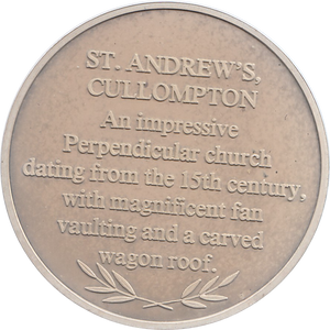 SILVER PROOF MEDALLION ST ANDREWS CULLOMPTON CHURCH REF 19 FAMOUS CHURCH'S AND CATHEDRALS