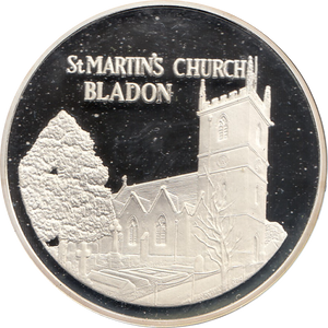 SILVER PROOF MEDALLION ST MARTINS CHURCH BLADON REF 21 FAMOUS CHURCH'S AND CATHEDRALS