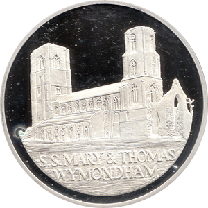 SILVER PROOF MEDALLION THE ABBEY CHURCH OF ST MARYS AND ST THOMAS CANTERVURY WYMONDHAM REF 22 FAMOUS CHURCH'S AND CATHEDRALS