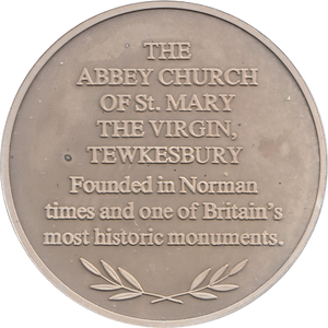 SILVER PROOF MEDALLION THE ABBEY CHURCH OF ST MARY THE VIRGIN TEWKESBURY REF 23 FAMOUS CHURCH'S AND CATHEDRALS