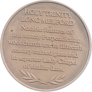 SILVER PROOF MEDALLION HOLY TRINITY CHURCH LONG MELFORD REF 25 FAMOUS CHURCH'S AND CATHEDRALS