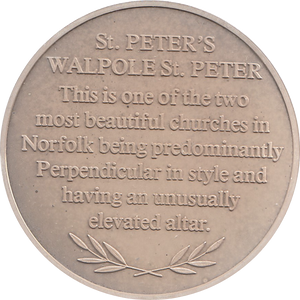 SILVER PROOF MEDALLION ST PETERS CHURCH WALPOLE REF 28 FAMOUS CHURCH'S AND CATHEDRALS
