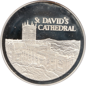 SILVER PROOF MEDALLION ST DAVIDS CATHEDRAL REF 32 FAMOUS CHURCH'S AND CATHEDRALS