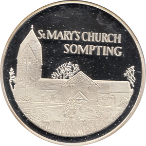 SILVER PROOF MEDALLION ST MARYS CHURCH SOMPTING REF 34 FAMOUS CHURCH'S AND CATHEDRALS
