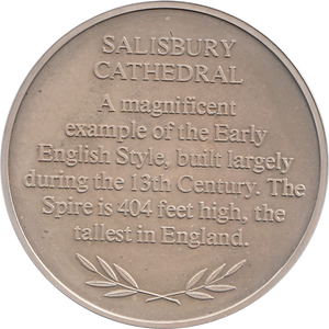SILVER PROOF MEDALLION SAILSBURY CATHEDRAL REF 36 FAMOUS CHURCH'S AND CATHEDRALS
