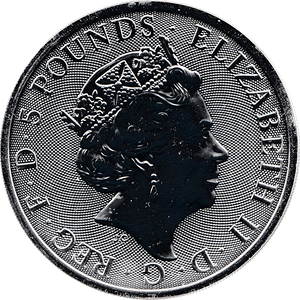2020 SILVER FIVE POUNDS QUEENS BEAST 2 OUNCE ( PROOF )