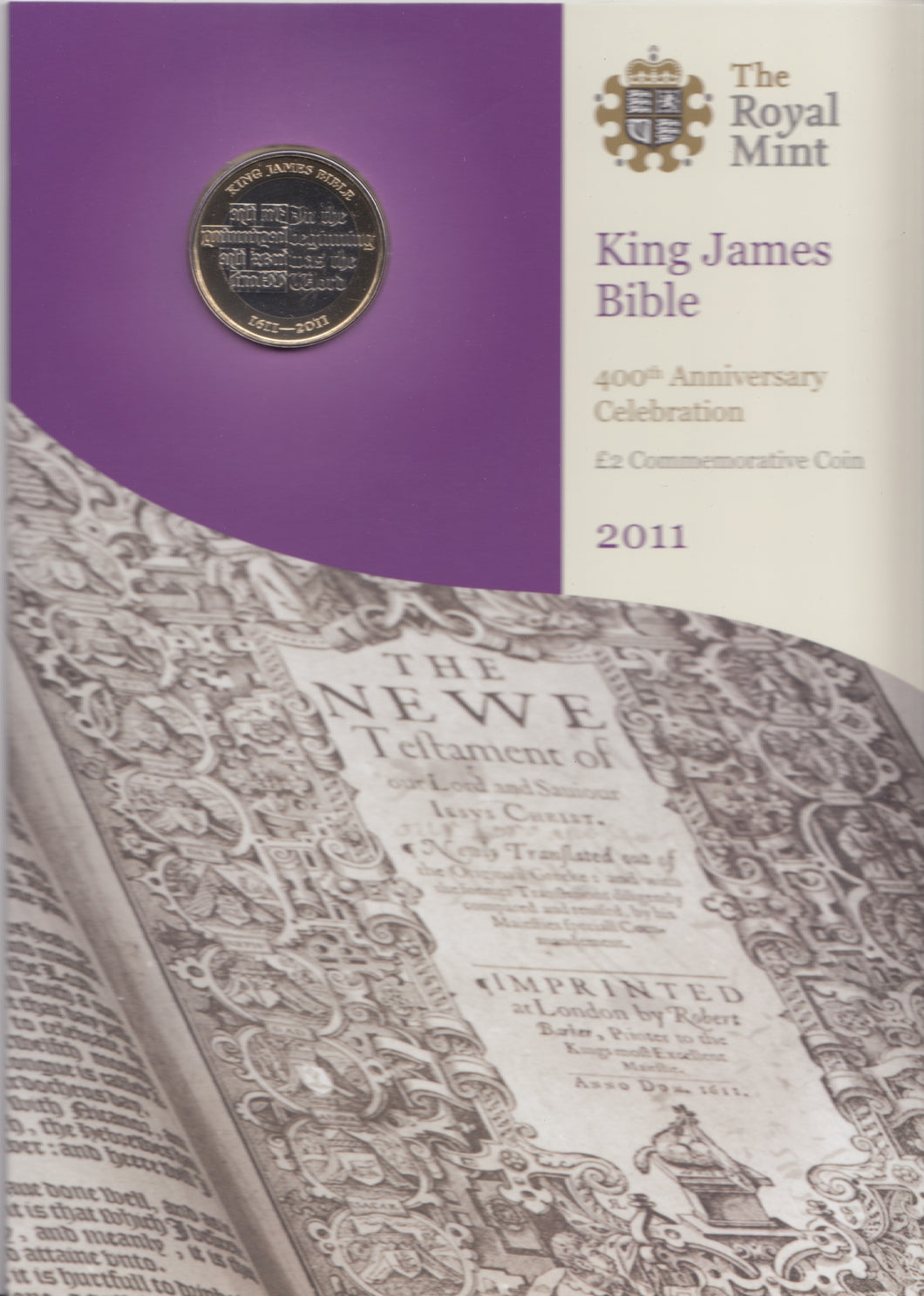 2011 £2 UNCIRCULATED PRESENTATION PACK KING JAMES BIBLE