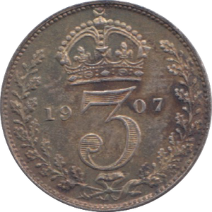 1907 MAUNDY THREEPENCE ( UNC ) 4