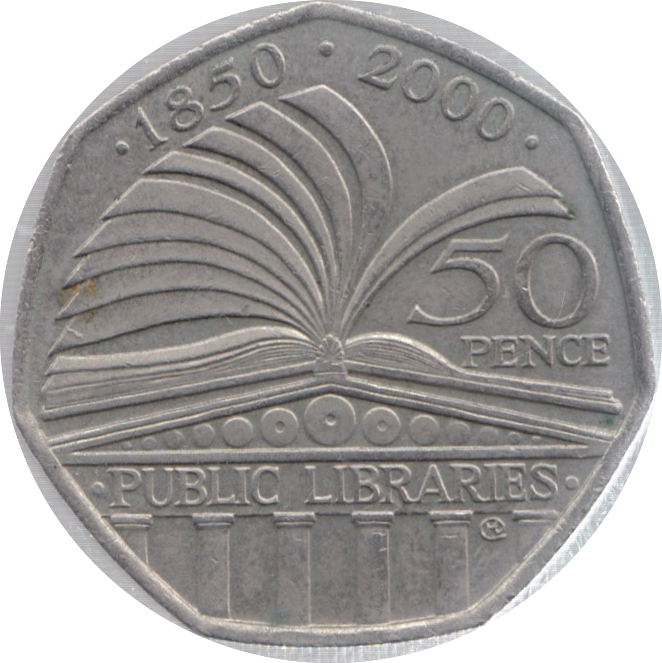 2000 CIRCULATED 50P PUBLIC LIBRARIES ANNIVERSARY