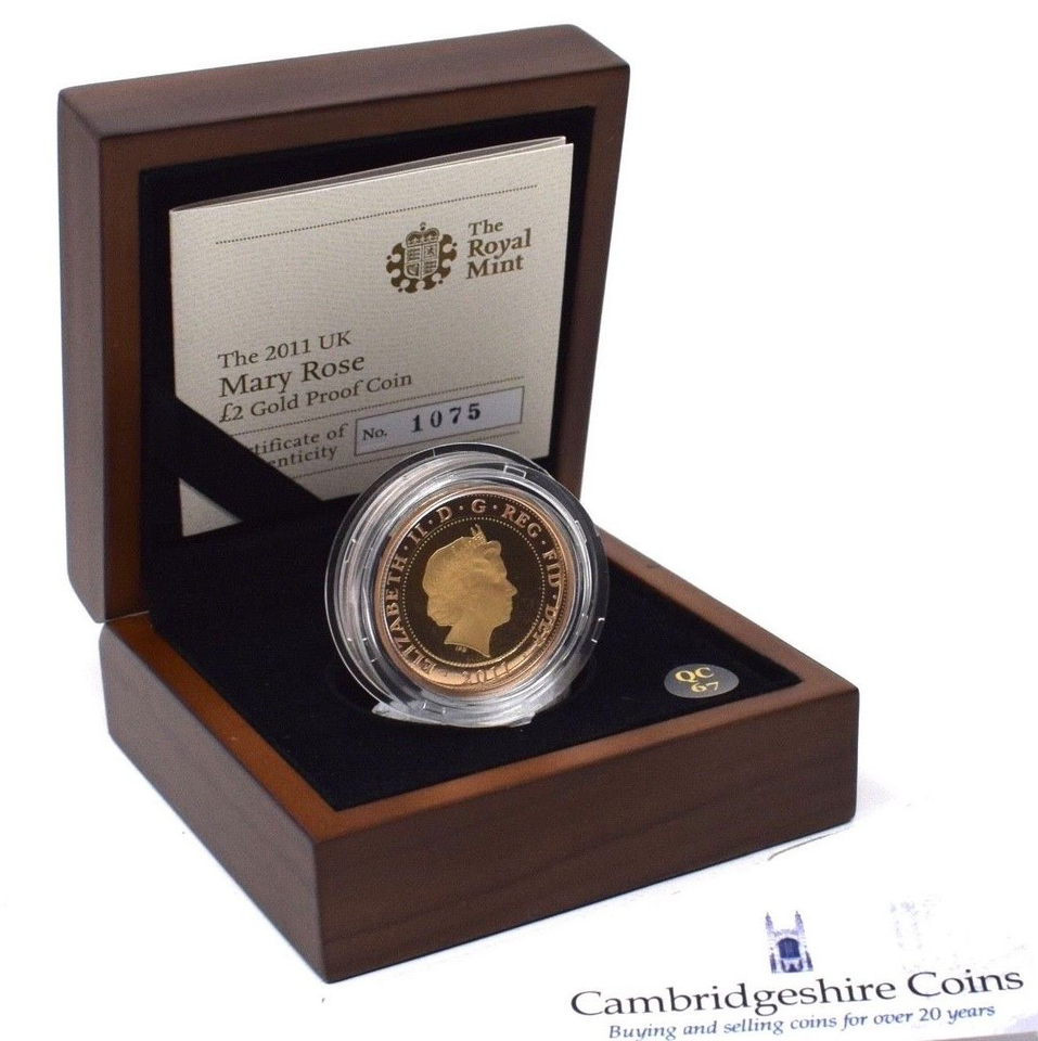 2011 Gold Proof £2 Two Pound Mary Rose Coin BOX + COA Bullion Double Sovereign