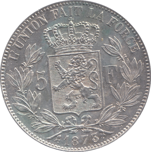 1873 SILVER BELGIUM 5 FRANCS VERY HIGH GRADE