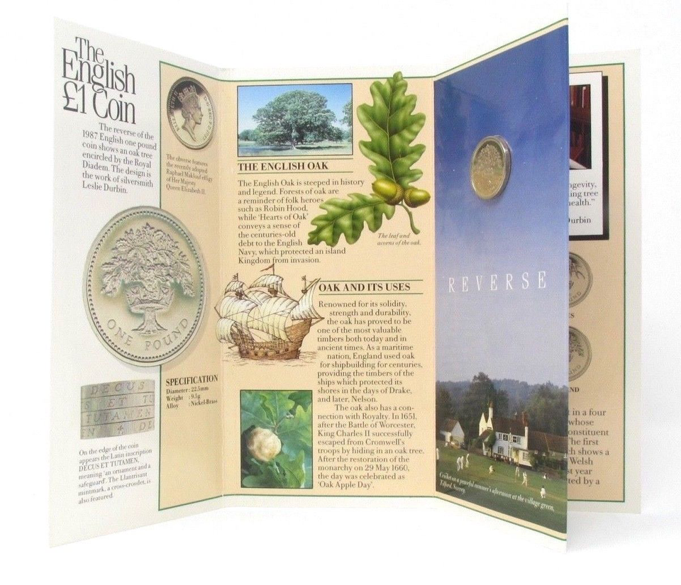 Brilliant Uncirculated £1 Coin Presentation Pack England 1987