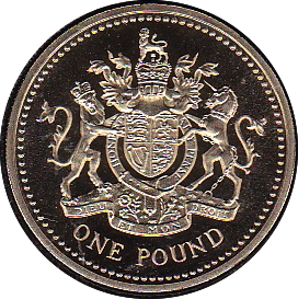 1993 ONE POUND PROOF £1 ROYAL ARMS