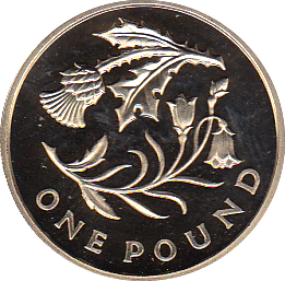 2014 ONE POUND PROOF FLORAL SCOTLAND