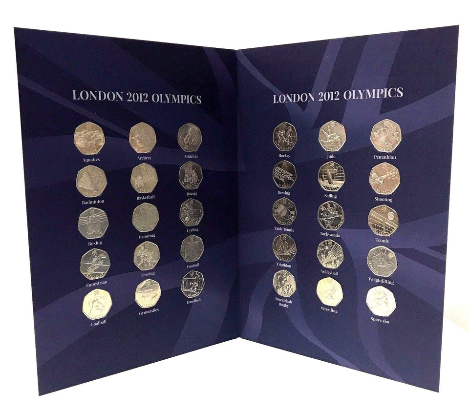 Complete London Olympic 2012 29 x 50p Coins Sports Coin Hunt Album with Coins