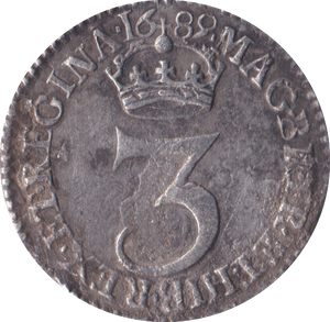 1689 MAUNDY THREEPENCE ( VF )